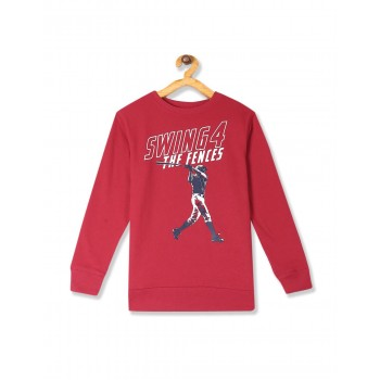 The Children's Place Boys Red  Active Long Sleeve Graphic French Terry Sweatshirt