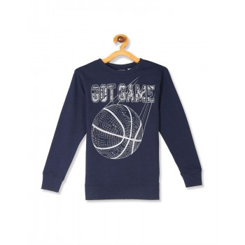 The Children's Place Boys Blue Active Long Sleeve Graphic French Terry Sweatshirt