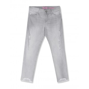 The Children's Place Girls Grey Step Hem Distressed Denim Jeans