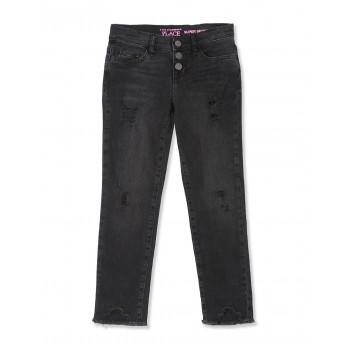 The Children's Place Girls Black Distressed Denim Super Skinny Jeans