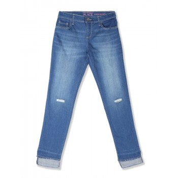 The Children's Place Girls Blue Step Hem Distressed Denim Jeans