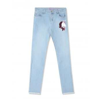 The Children's Place Girls Blue Flip Sequin Unicorn Jeans