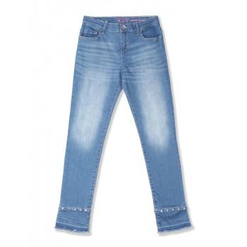 The Children's Place Girls Blue Stud Hem Distressed Denim Jeans
