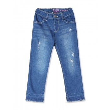 The Children's Place Baby And Toddler Girl Blue Distressed Denim Jeans