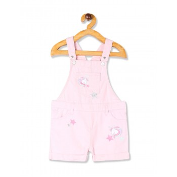 The Children's Place Baby And Toddler Girl Pink Embroidered Unicorn Patch Roll Cuff Denim Shortalls