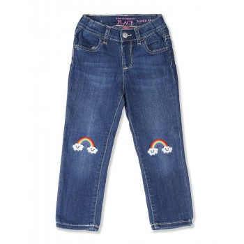 The Children's Place Baby And Toddler Girl Blue Embroidered Rainbow Patch Denim Jeans