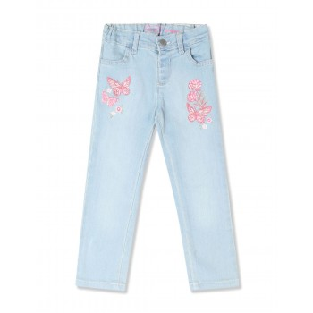 The Children's Place Baby And Toddler Girl Blue Embroidered Butterfly Patch Denim Jeans