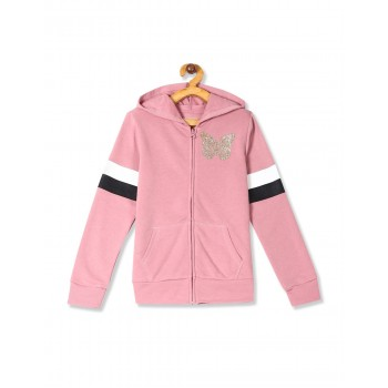 The Children's Place Girls Pink  Active Glitter Graphic French Terry Zip Up Hoodie