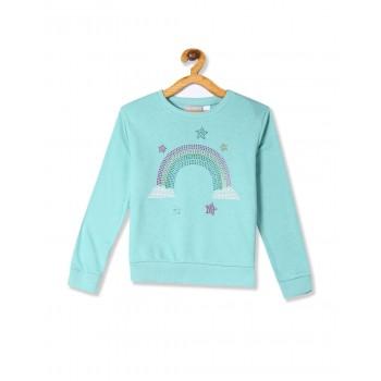 The Children's Place Girls Blue Active Long Sleeve Embellished Graphic Fleece Sweatshirt