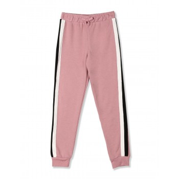 The Children's Place Girls Pink  Active Side Stripe French Terry Jogger Pants