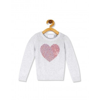 The Children's Place Toddler Girl Grey Long Sleeve Embellished Graphic Sweater