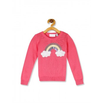 The Children's Place Toddler Girl Pink Long Sleeve Embellished Graphic Sweater