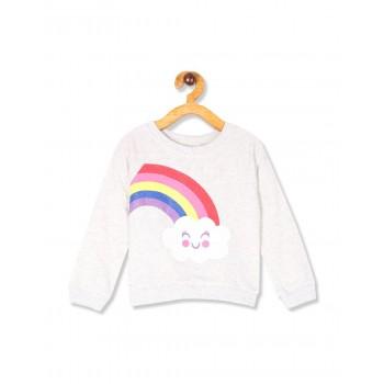 The Children's Place Toddler Girl Grey Long Sleeve Graphic Fleece Sweatshirt