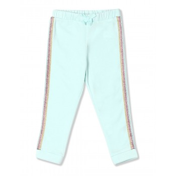 The Children's Place Baby And Toddler Girl Blue Active Glitter Side Stripe Fleece Jogger Pants
