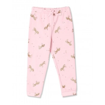 The Children's Place Baby And Toddler Girl Pink Active Glitter Unicorn Print Fleece Jogger Pants