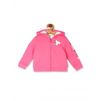 The Children's Place Toddler Girl Pink Graphic Sherpa Zip Up Hoodie