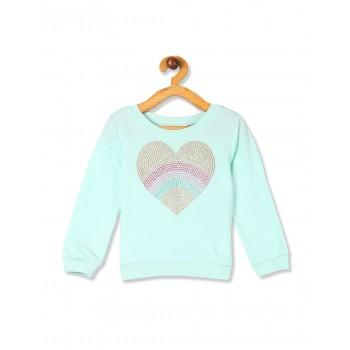 The Children's Place Toddler Girl Blue Long Sleeve Embellished Graphic Fleece Sweatshirt