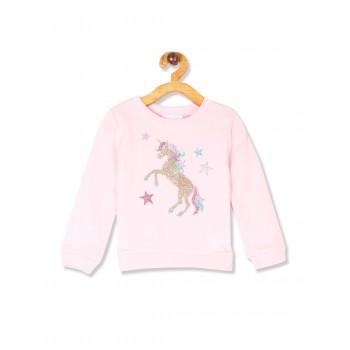 The Children's Place Toddler Girl Pink Long Sleeve Embellished Graphic Fleece Sweatshirt