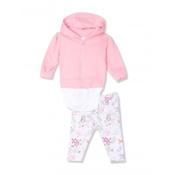 The Children's Place Girls Pink Sweet Deer 3-Piece Take Me Home Set