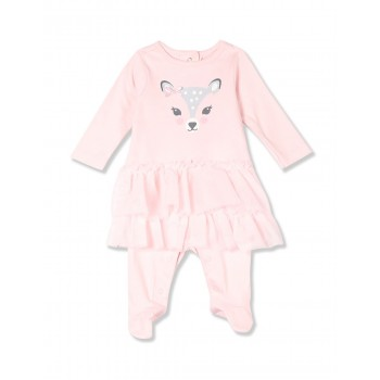 The Children's Place Baby Girl Pink Long Sleeve Sweet Deer Tutu Cotton Coverall