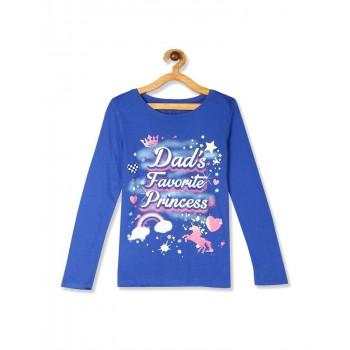 The Children's Place Girls Blue  Glow In The Dark Glitter Cat Graphic Tee