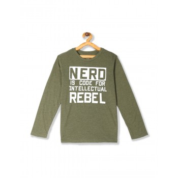 The Children's Place Boys Green Long Sleeve 'Nerd' Graphic Tee