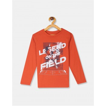 The Children's Place Boys Orange Long Sleeve 'Legend On The Field' Soccer Graphic Tee