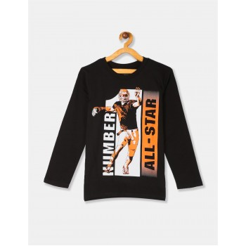 The Children's Place Boys Black Long Sleeve 'Number One All Star' Football Graphic Tee