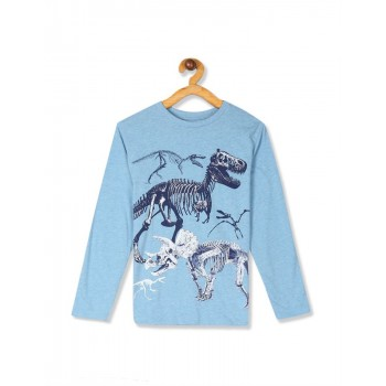 The Children's Place Boys Blue Long Sleeve Dino Graphic Tee