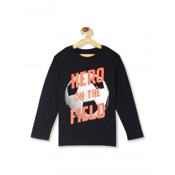 The Children's Place Boys Black  Long Sleeve 'Hero On The Field' Soccer Graphic Tee