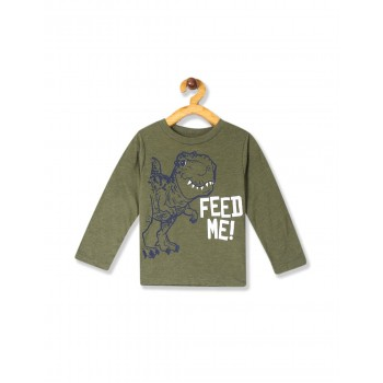 The Children's Place Baby And Toddler Boy Green Long Sleeve 'Feed Me' Dino Graphic Tee