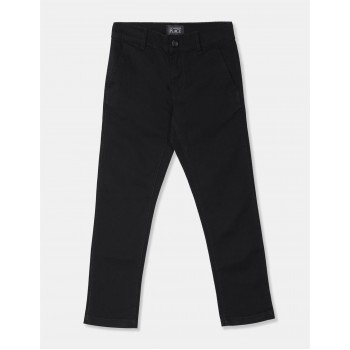 The Children's Place Boys Black Skinny Fit Cotton Stretch Chinos