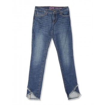 The Children's Place Girls Blue Frayed Tulip Hem Super Skinny Jeans