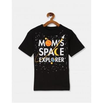 The Children's Place Boys Black Crew Neck Printed T-Shirt