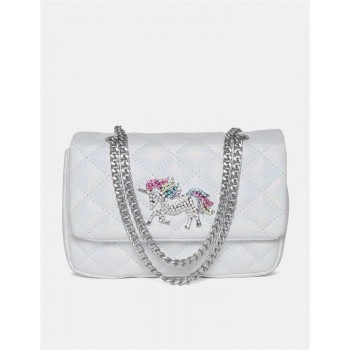 The Children's Place Girls White Unicorn Embellished Quilted Sling Bag