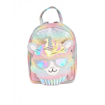 The Children's Place Girls Multi Colour Glitter Rainbow Llamacorn Mini Backpack