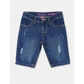 The Children's Place Girls Dark Blue Stone Wash Denim Shorts