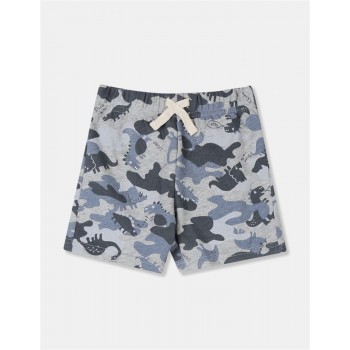 The Children's Place Toddler Boy Grey Dinosaur Print Knit Shorts