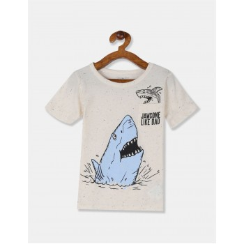 The Children's Place Toddler Boy White Patch Pocket Shark Graphic T-Shirt