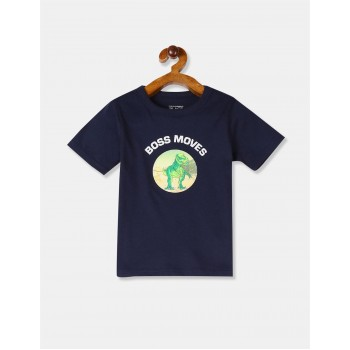 The Children's Place Boys Blue Crew Neck Dinosaur Graphic T-Shirt