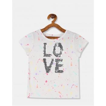 The Children's Place Girls White Flip Sequin Splatter T-Shirt