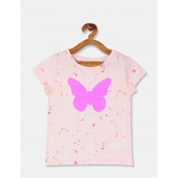 The Children's Place Girls Pink Flip Sequin Splatter T-Shirt