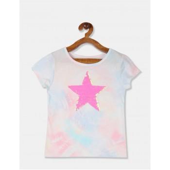 The Children's Place Girls Multi Colour Flip Sequin Star Tie Dye T-Shirt