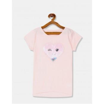 The Children's Place Girls Pink Heart Applique Round Neck T-Shirt