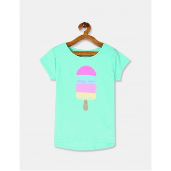 The Children's Place Girls Blue Crew Neck Popsicle Embellished T-Shirt