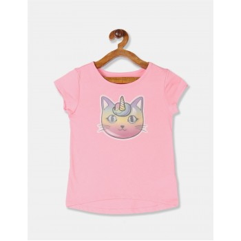 The Children's Place Girls Pink Lenticular Caticorn Top