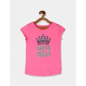 The Children's Place Girls Pink Flip Sequin Queen Squad High Low Top