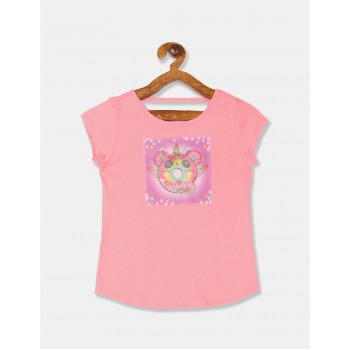 The Children's Place Girls Pink Lenticular Pandacorn Donut Cut Out Top
