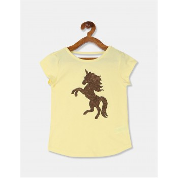 The Children's Place Girls Yellow Round Neck Flippy Sequin Embellished T-Shirt