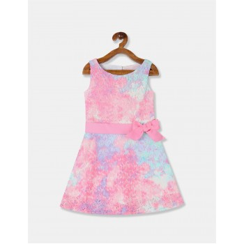 The Children's Place Girls Pink Round Neck Printed Lace Fit And Flare Dress
